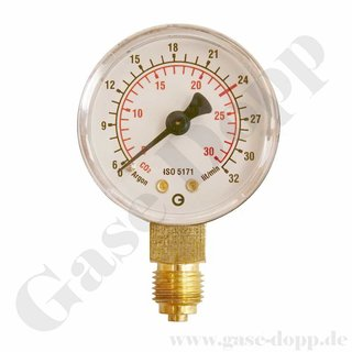 Manometer Ø 50 - Argon / CO2 0 - 32 / 30  l/min - roter Strich 24 l/min - G 1/4 senkrecht CL 2,5