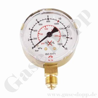 Manometer neutral 0 - 10 bar / 16 bar  0 - 230 psi - G 1/4 ø 63mm senkrecht CL 2,5